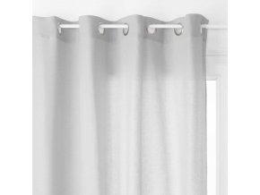 Okenní závěs v jemném odstínu šedé, pevná látka imitující len - 240 x 140 cm