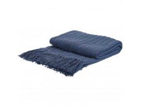 Modrá pletená deka s bavlny, měkká a teplá deka s třásněmi ve skandinávském stylu