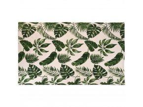 Přírodní bavlněný koberec s motivem listů, 120x180 cm