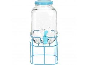 Skleněná nádoba s kohoutem na stojanu v modré barvě, módní a pohodlný dávkovač na vodu a nápoje