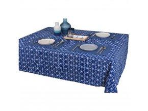 Zahradní ubrus zahrada v modré barvě s bílým vzorem, elegantní voskované plátno na stůl v zahradě nebo terase