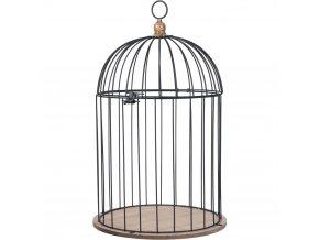 Ptačí klec, ozdobná dřevěná ptačí klícka, kovová černá ptačí klec