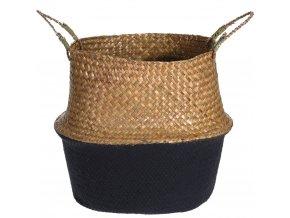 Koš z mořské trávy, kulatý koš pletený z mořské trávy, organizér, nádoba z přírodních materiálů