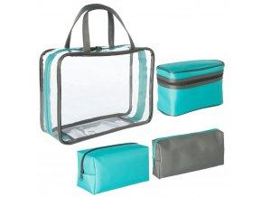 Sada cestovních toaletních tašek, 3 tašky pro kosmetiku a toaletní potřeby různých velikostí