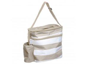 Izotermická taška s kapacitou 18L, praktický taška přes rameno v šedých a bílých pásech