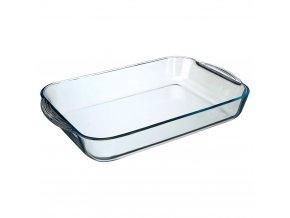 Obdélná žáruvzdorná skleněná nádoba, žáruvzdorná zapékací a servírovací mísa
