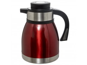 Praktická červená konferenční termoska na kávu z plastu a kovu, 14x2,51x1,2 cm