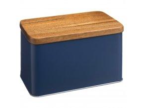 Kovová nádoba modré barvy, jednoduchá plechovka na různé drobnosti či potraviny