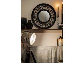 Podlahová lampa v univerzální černé barvě ze dřeva a kovu BLACK METAL+WOOD FLR LAMP H152