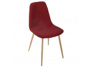 Jídelní židle RED CHAIR ROKA s textilním červeným čalouněním na štíhlých dřevěných nohou