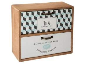 Dřevěná polička na čaj se dvěma ozdobnými zásuvkami TEA BOX COLLECT