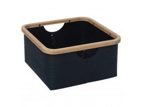 Černý koš na drobné předměty z plastu s bambusovou hranou BAMBOO BASKET M BLACK
