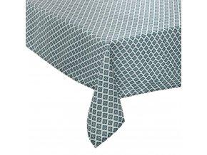 Ubrus bílo-modré barvy o rozměrech 140 x 240 cm, vyrobený z polyesteru, ozdoba každého stolu