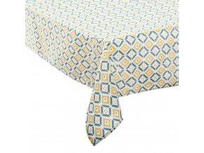 Ubrus bílo-modro-žluté barvy o rozměrech 140 x 240 cm, vyrobený z polyesteru, ozdoba každého stolu