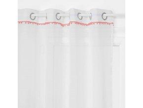 Bílé záclony s oranžovými dekoracemi z polyesteru, 140x240 cm