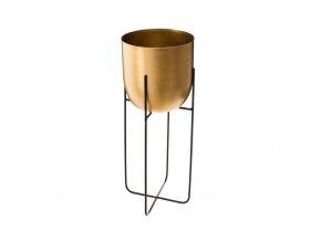 Sada dvou květináčů zlaté barvy na kovovém stojanu