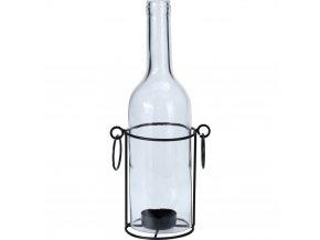 Svícen na čajovou svíčku ve tvaru skleněné lahve průhledné barvy na kovovém podstavci