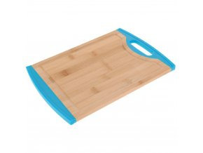Kuchyňská deska na krájení vyrobená z bambusu s modrými okraji z umělé hmoty