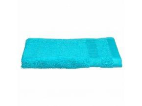 Tyrkysový koupelnový ručník na ruce s ozdobnou bordurou, bavlněný ručník v intenzivním odstínu
