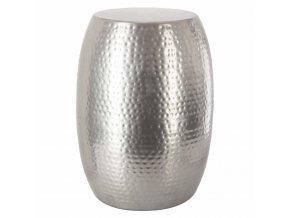 Kulatý stolek HANAE v moderním stylu ze stříbrného kovu