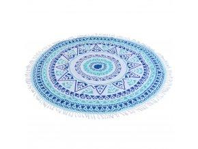 Kulatý ručník hammam, 150 cm modrý