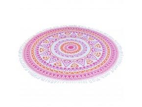 Kulatý ručník hammam, 150 cm růžový