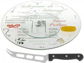 Otočný podnos pro servírování sýrů + nůž