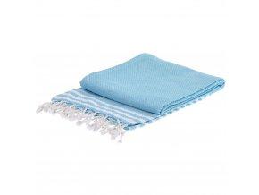Obdélný ručník hammam, klasická světle modrá barva 150x90 cm