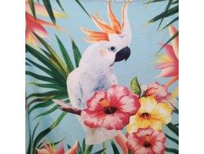Kulatá plážová osuška s papouškem, mátová barva Ø 150 cm