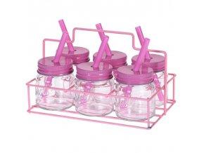 Zavařovačky na nápoje se slámkou, 6 skleněných hrnků, růžová barva