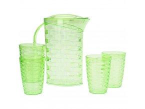 Džbán na studené nápoje, 2 litry + 4 hrnky jako součást soupravy, zelená barva
