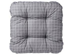 Kostkovaný sedák na židli, šedá barva, čtvercový