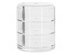 Plastová nádoba se třemi zásuvkami kruhového tvaru v průhledné barvě