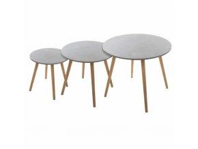 Sada tří konferenčních stolků s kulatým vrcholem v šedé barvě v kombinaci s dřevěnými nohami.