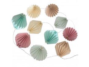 LED osvětlení - lehký řetěz v orientálním stylu papíru origami 10 lamp