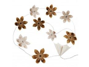 Dekorativní LED osvětlení - řetěz 10 květů z papíru ve zlaté barvě, na baterii.