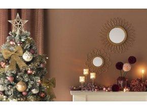Zrcadlo v kulatém rámu zavěšné z přírodního ratanu ve tvaru značky Sun Atmosphera