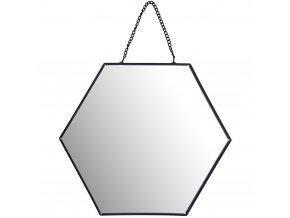 Nástěnné zrcadlo šestiúhelníkové, šířka 20 cm, černé