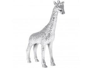Dekorační soška do bytu, pěkná stříbrná žirafa z hliníku