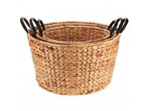 Košíky pletené z ratanu, sada úložných košů se dvěma uchy