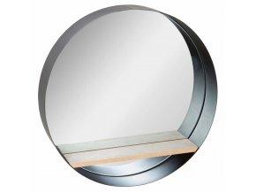Závěsné zrcadlo v rámu, moderní zrcadlo s dřevěnou poličkou na maličkosti