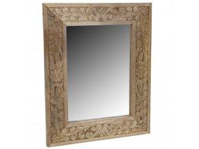 Nástěnné zrcadlo v dřevěném rámu, 50x40 cm, světle hnědá barva
