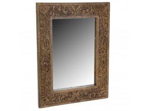 Nástěnné zrcadlo v dřevěném rámu, 50x40 cm, tmavě hnědá barva