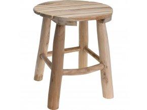Stolička z přírodního teakového dřeva, kulatá – taburet, podnožka