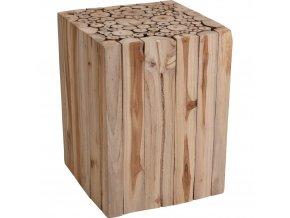 Stolička z přírodního teakového dřeva – čtvercový taburet, podnožka
