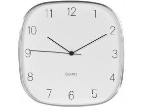 Čtvercové nástěnné hliníkové hodiny ve stříbrné barvě, 30x30 cm