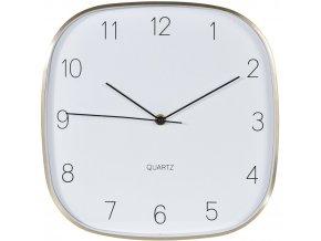 Čtvercové nástěnné hodiny – zlatá barva, 30x30 cm