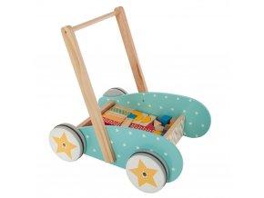 Dětský vozík se sadou 40 dřevěných kostek, 40x40x33 cm