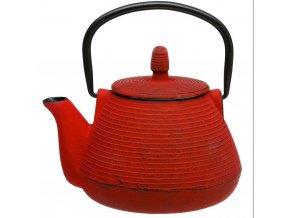 Litinová čajová konvička, 1 l, červená barva