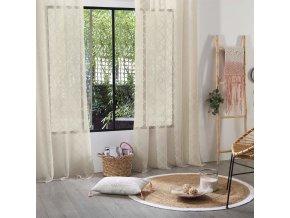 Záclona stylová polyesterová s kosočtvercovým vzorem, rozměr 140x240 – lněná barva